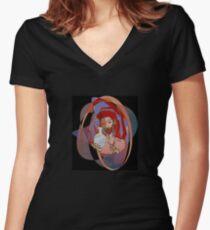 Red, the engraver Women's Fitted V-Neck T-Shirt