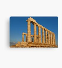 Temple of Poseidon at sunset, Cape Sounio Canvas Print