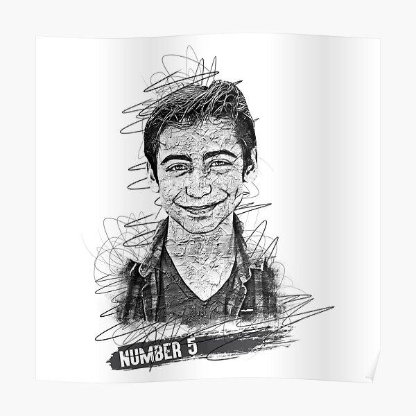 Aidan Gallagher Boceto abstracto artístico, Aidan Gallagher, Número 5 Póster
