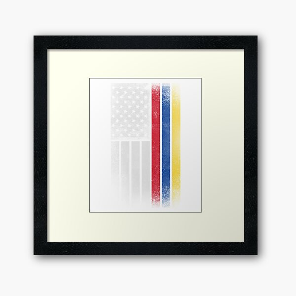 Colombian American Flag - Half Colombian Half American  Framed Art Print