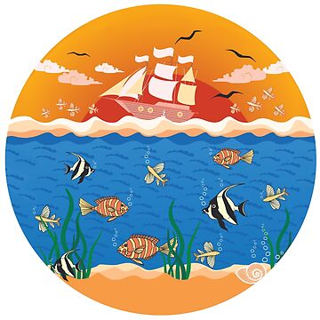 illustration with fishes and ship by -ashetana-