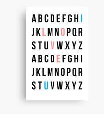Alphabet Love Canvas Print