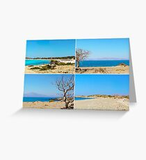 Photo collage with images of Chrissi Island, near Crete, Greece Greeting Card