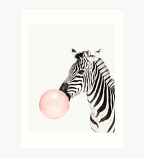 Zebra print, Bubble gum, Nursery art, Zebra wall art, Animal, Kids room, Modern art, Wall decor Art Print
