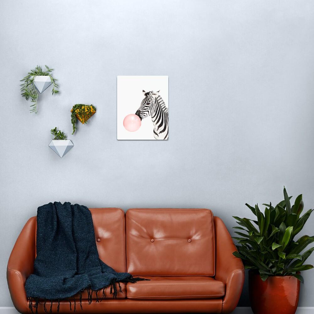 Zebra print, Bubble gum, Nursery art, Zebra wall art, Animal, Kids room, Modern art, Wall decor Metal Print