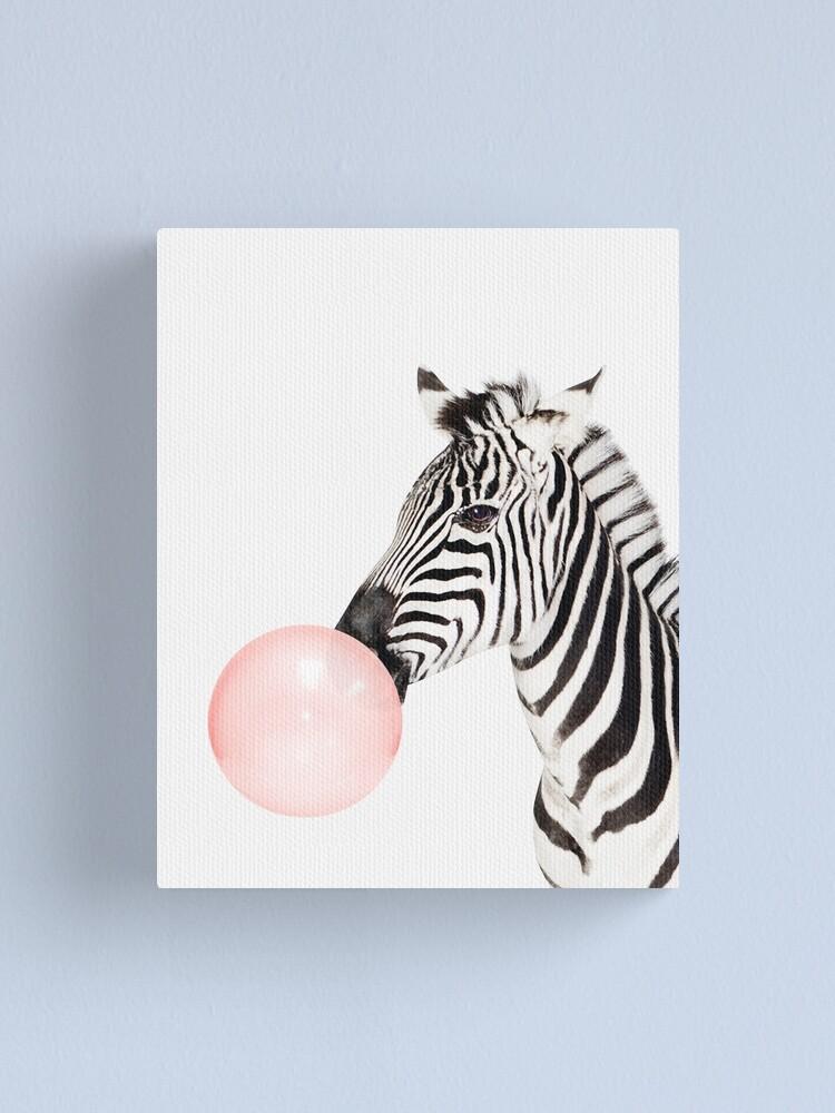 Alternate view of Zebra print, Bubble gum, Nursery art, Zebra wall art, Animal, Kids room, Modern art, Wall decor Canvas Print