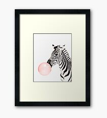 Zebra print, Bubble gum, Nursery art, Zebra wall art, Animal, Kids room, Modern art, Wall decor Framed Print
