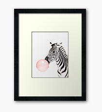 Zebra print, Bubble gum, Nursery art, Zebra wall art, Animal, Kids room, Modern art, Wall decor Framed Print