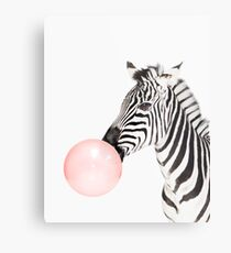 Zebra print, Bubble gum, Nursery art, Zebra wall art, Animal, Kids room, Modern art, Wall decor Metal Print