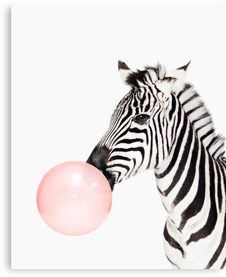 Zebra print, Bubble gum, Nursery art, Zebra wall art, Animal, Kids room, Modern art, Wall decor by Julia Emelianteva