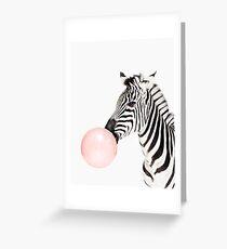 Zebra print, Bubble gum, Nursery art, Zebra wall art, Animal, Kids room, Modern art, Wall decor Greeting Card