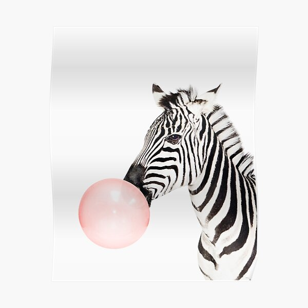 Zebra print, Bubble gum, Nursery art, Zebra wall art, Animal, Kids room, Modern art, Wall decor Poster