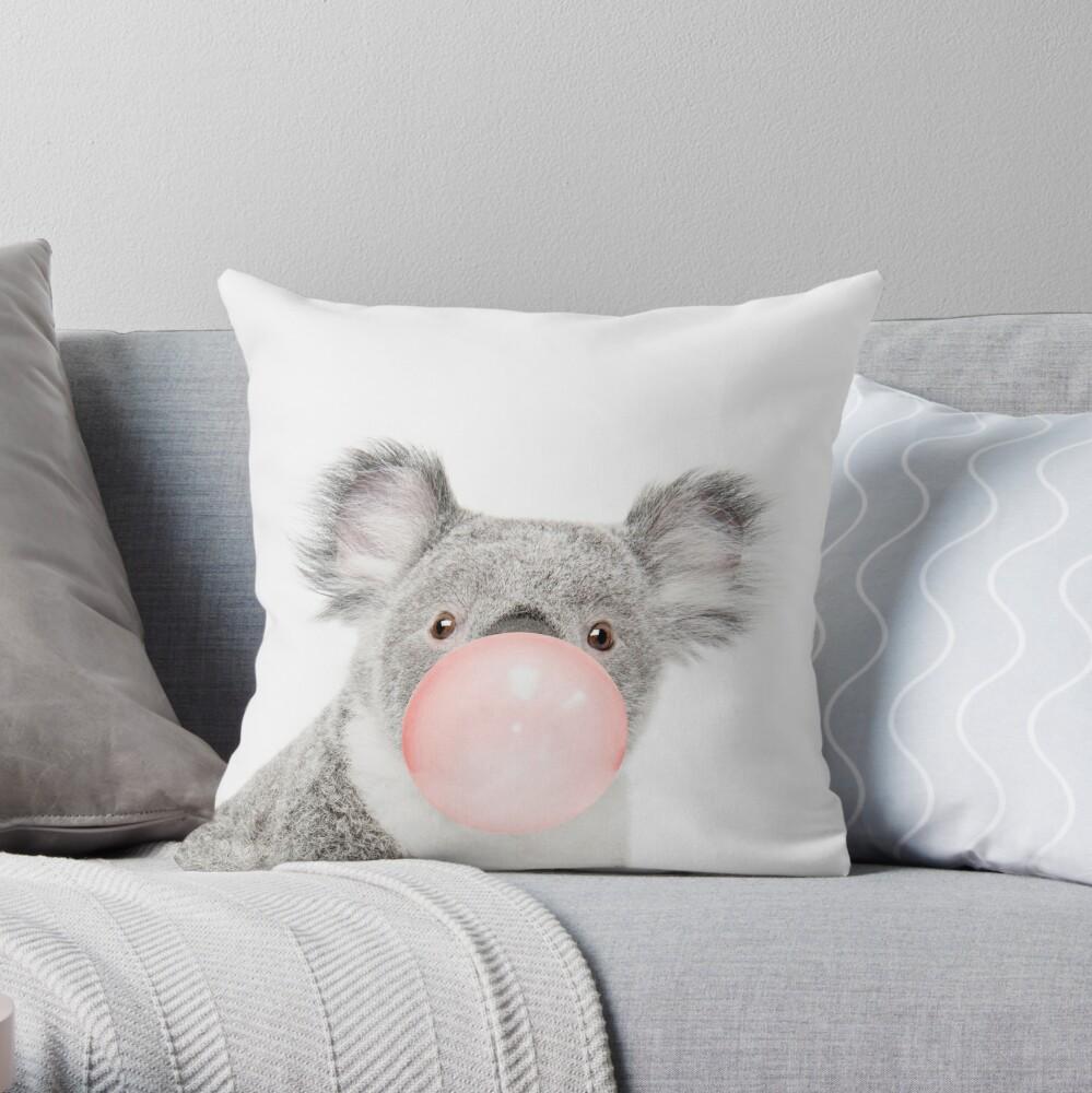 Koala print, Bubble gum, Nursery art, Koala wall art, Animal, Kids room, Modern art, Wall decor Throw Pillow