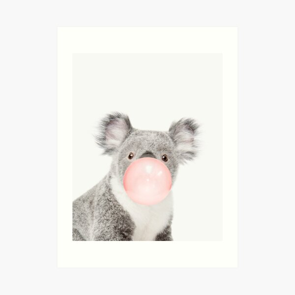 Koala print, Bubble gum, Nursery art, Koala wall art, Animal, Kids room, Modern art, Wall decor Art Print