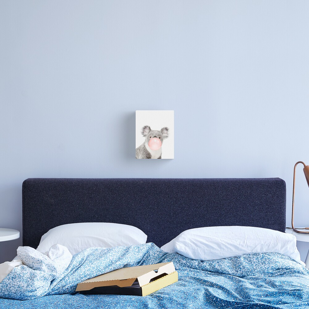 Koala print, Bubble gum, Nursery art, Koala wall art, Animal, Kids room, Modern art, Wall decor Canvas Print