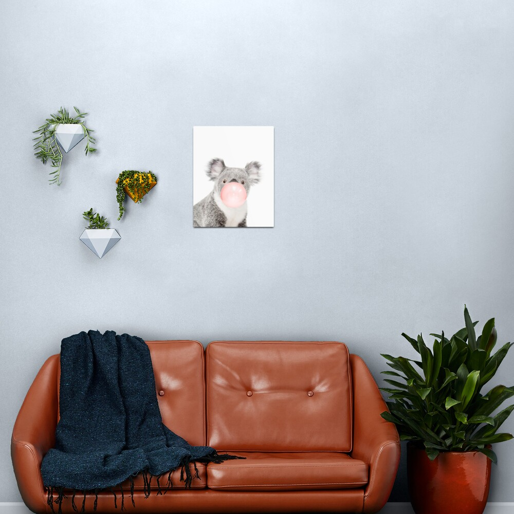 Koala print, Bubble gum, Nursery art, Koala wall art, Animal, Kids room, Modern art, Wall decor Metal Print