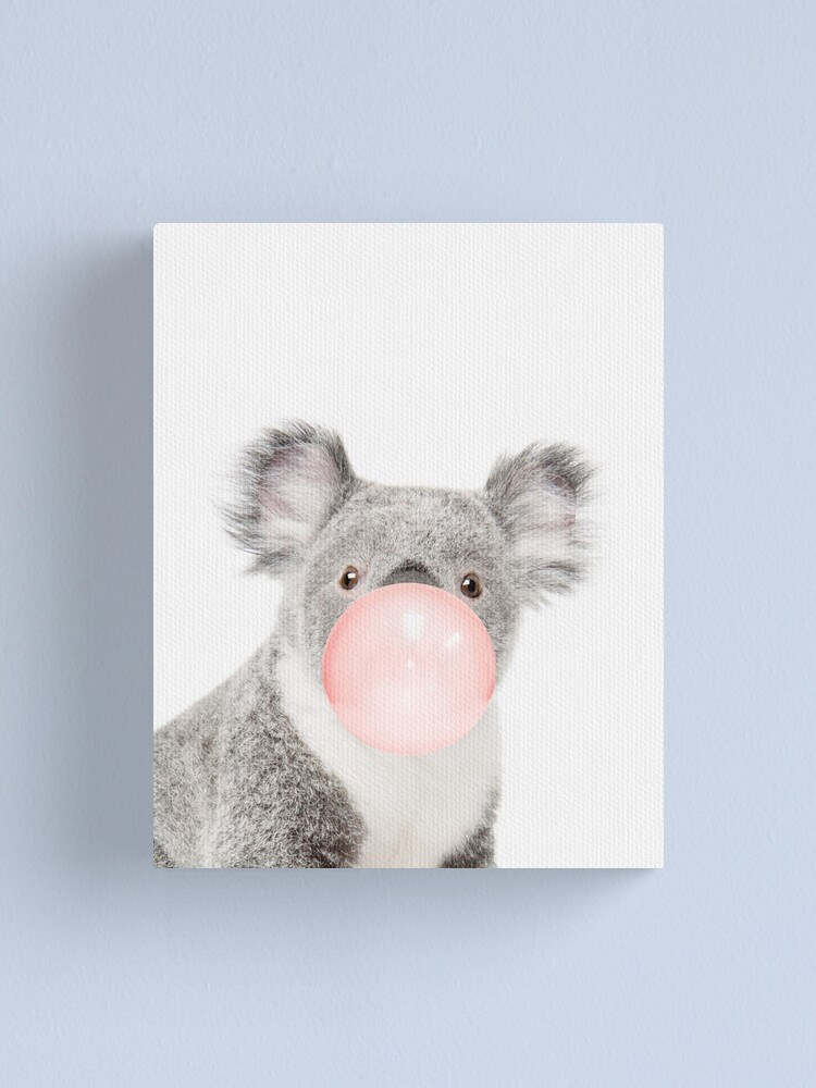 Alternate view of  Koala print, Bubble gum, Nursery art, Koala wall art, Animal, Kids room, Modern art, Wall decor Canvas Print