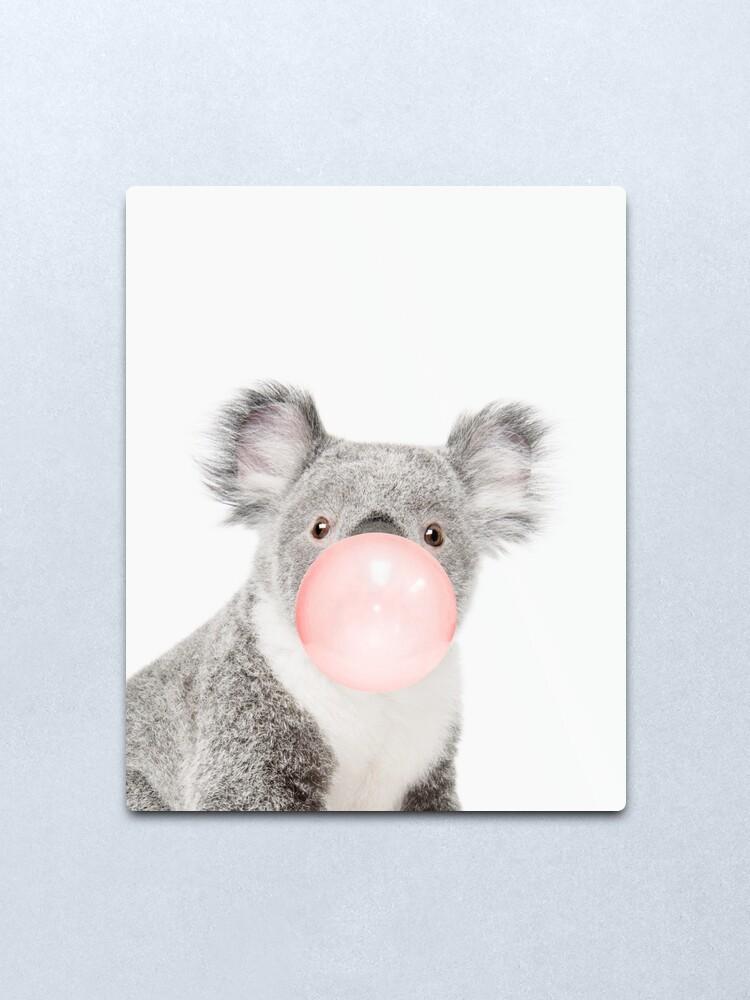 Alternate view of  Koala print, Bubble gum, Nursery art, Koala wall art, Animal, Kids room, Modern art, Wall decor Metal Print