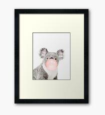 Koala print, Bubble gum, Nursery art, Koala wall art, Animal, Kids room, Modern art, Wall decor Framed Print