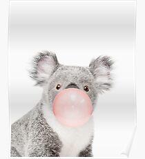 Koala print, Bubble gum, Nursery art, Koala wall art, Animal, Kids room, Modern art, Wall decor Poster