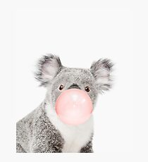Koala print, Bubble gum, Nursery art, Koala wall art, Animal, Kids room, Modern art, Wall decor Photographic Print