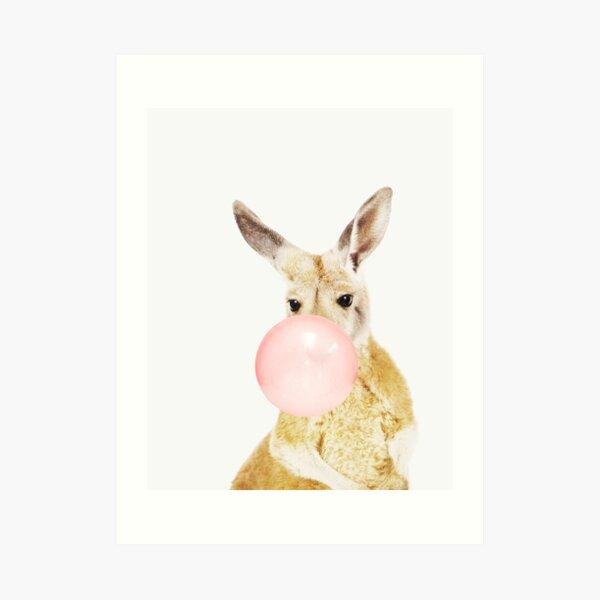 Kangaroo print, Bubble gum, Nursery art, Kangaroo wall art, Animal, Kids room, Modern art, Wall decor Art Print