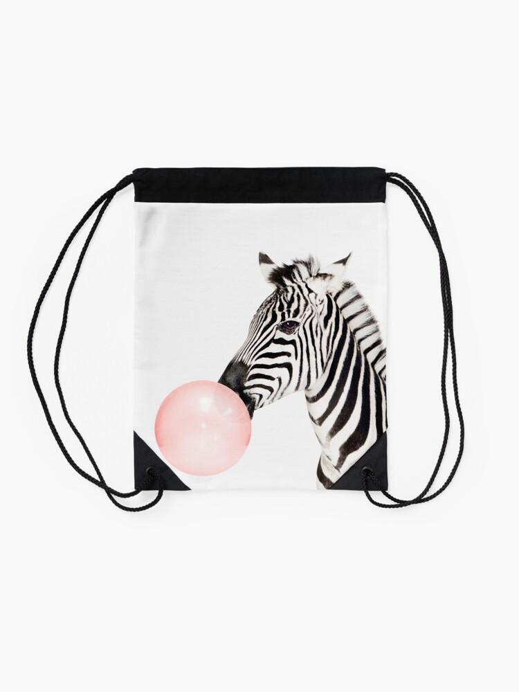 Alternate view of Zebra print, Bubble gum, Nursery art, Zebra wall art, Animal, Kids room, Modern art, Wall decor Drawstring Bag