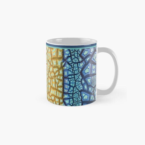 Peeling Paint Tribal Mandala-style Mosaic Pattern - Yellow Blue Jade  - Vicki Hadfield Classic Mug