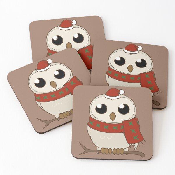 White winter owl Coasters (Set of 4)
