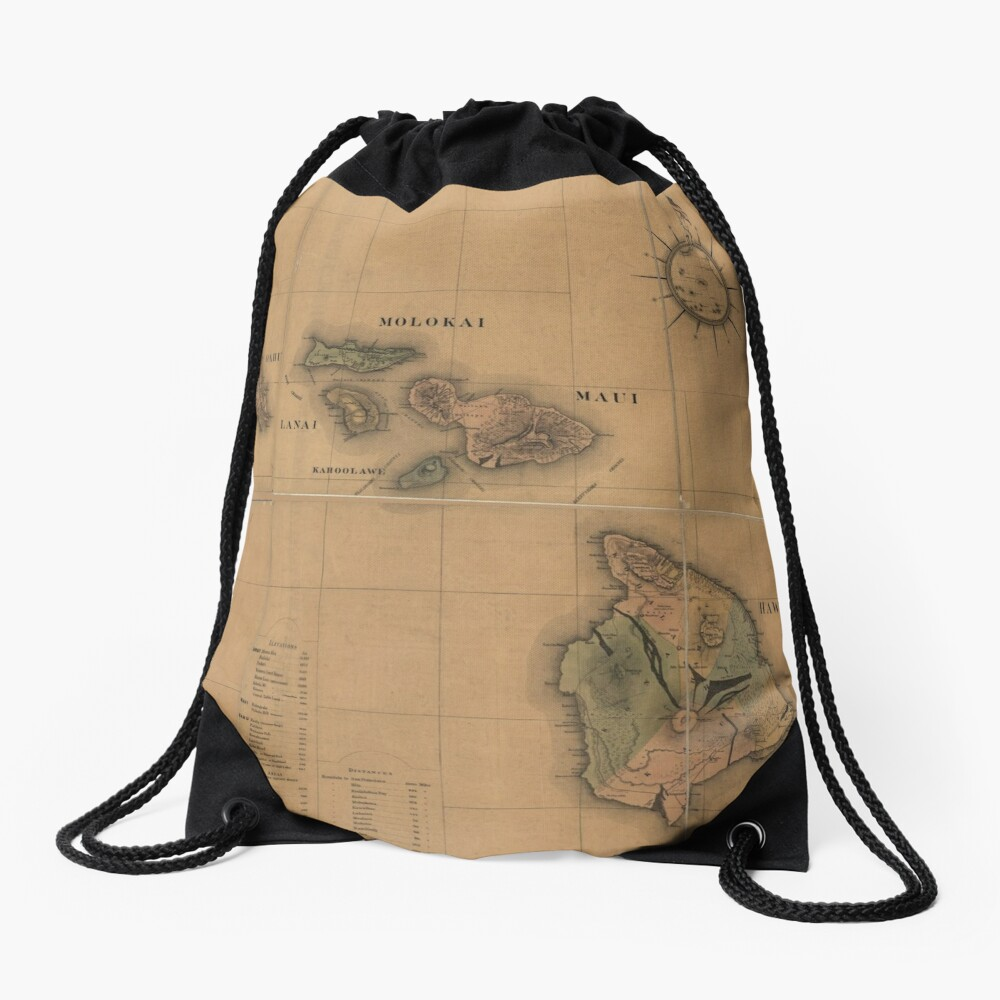 Vintage Map of Hawaii (1876) Drawstring Bag