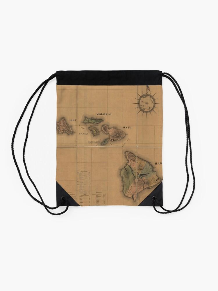 Alternate view of Vintage Map of Hawaii (1876) Drawstring Bag