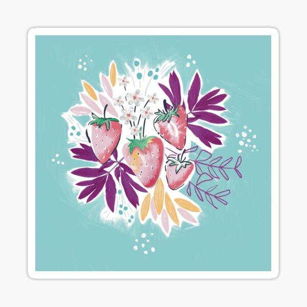 Erdbeeren und Blumen Bouquet Sticker