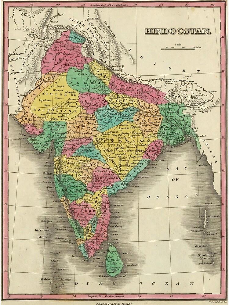 Vintage Map of India (1831) by BravuraMedia