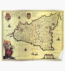 Vintage Map of Sicily Italy (1600s) Poster