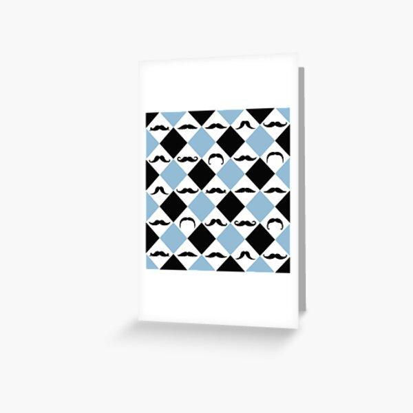 Mustachetic Black Blue Greeting Card