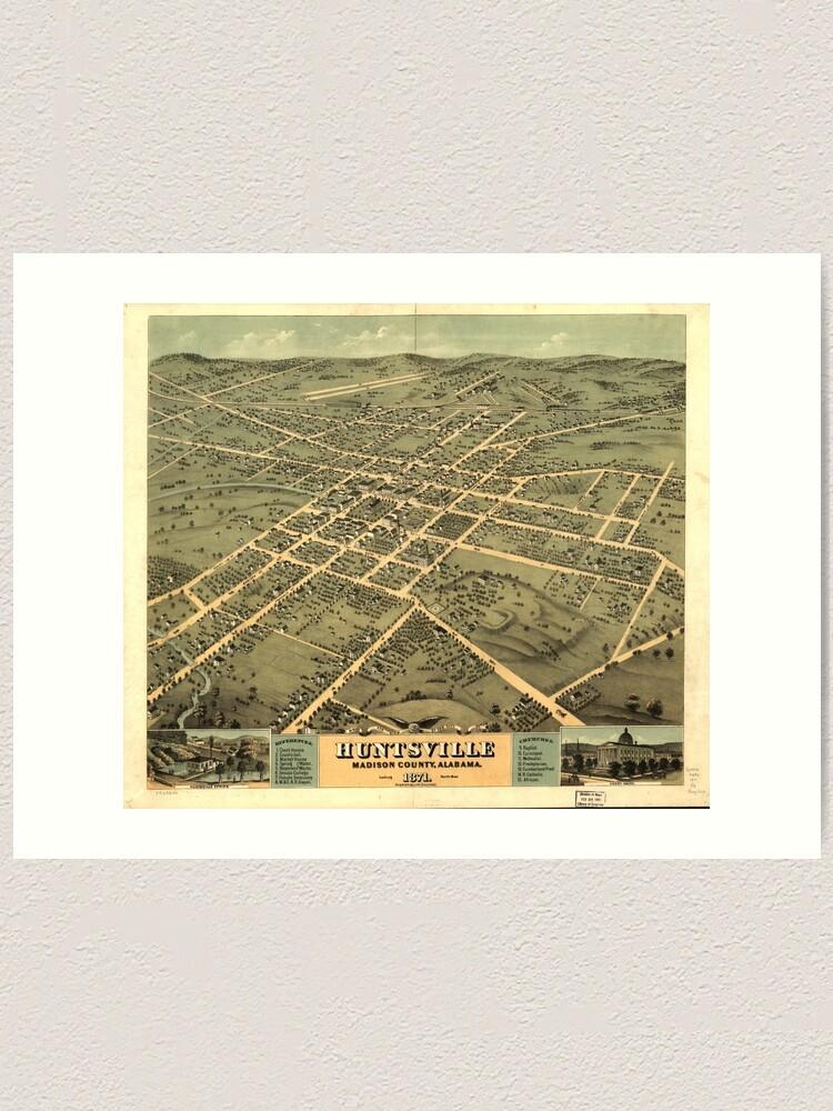 Vintage Pictorial Map of Huntsville Alabama (1871)   Art Print