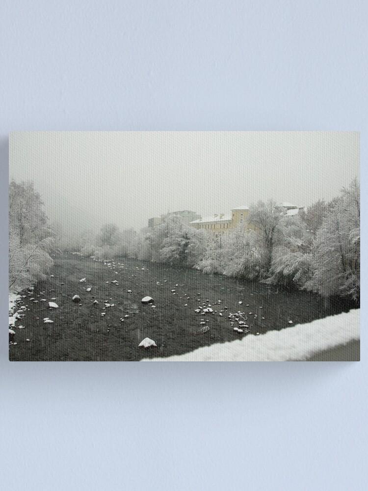 Alternate view of Snow storm on the Talvera River, Bolzano/Bozen, Italy Canvas Print