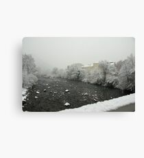 Snow storm on the Talvera River, Bolzano/Bozen, Italy Canvas Print