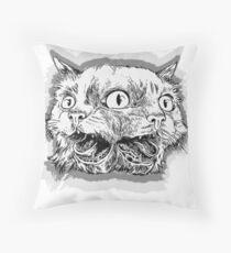 Trippy Cat - Black & White Throw Pillow