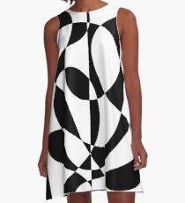 1960's Black and White Abstract A-Line Dress