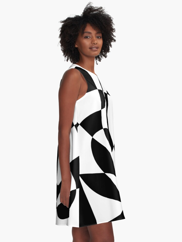 Alternate view of 1960's Black and White Abstract A-Line Dress