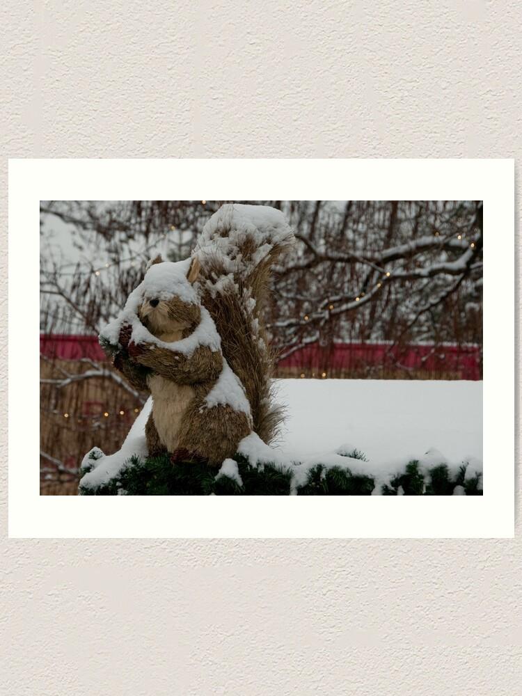 Alternate view of Snow covered animal figure, Christmas Market, Bolzano/Bozen, Italy Art Print