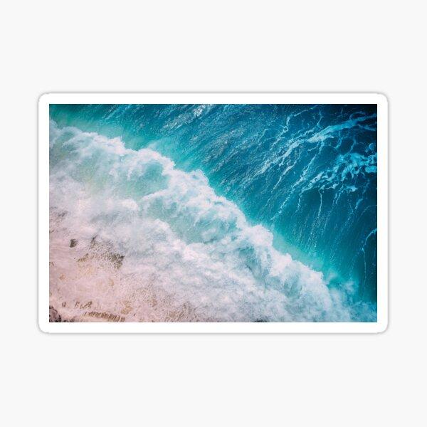 Aerial Photo of Blue Ocean Waves Sticker