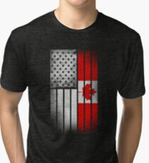 Canadian American Flag - Half Canadian Half American  Tri-blend T-Shirt