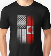 Canadian American Flag - Half Canadian Half American  Unisex T-Shirt