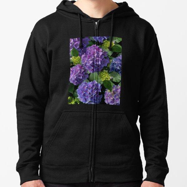 Purple hydrangeas, pink hydrangeas, blue hydrangeas    romantic farmhouse purple floral Zipped Hoodie