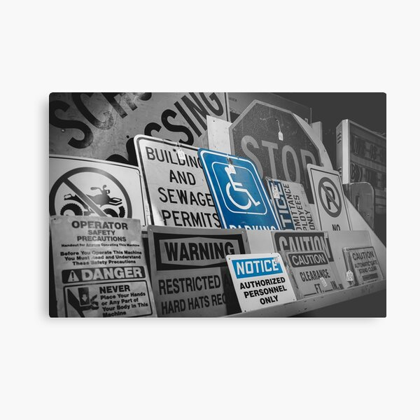 Selective Color Vintage Signs Blue Metal Print