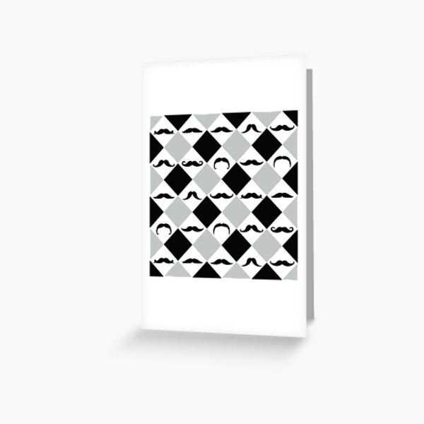 Mustachetic Black Grey Greeting Card