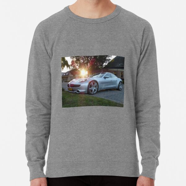 2012 Fisker Karma electric supercar against a sunset Lightweight Sweatshirt