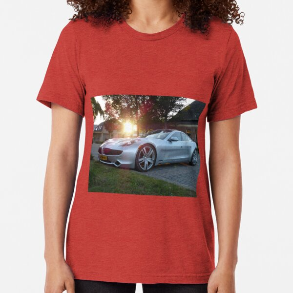 2012 Fisker Karma electric supercar against a sunset Tri-blend T-Shirt
